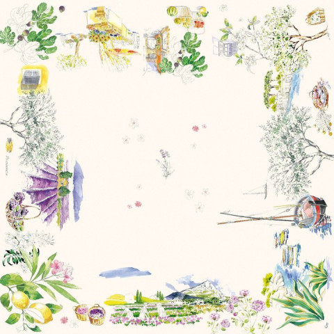 Provence Cotton Printed Tablecloth Provence 47 In Sq | Gracious Style