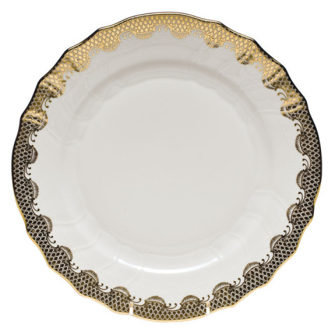 Fish Scale White Gold Border Dinnerware | Gracious Style