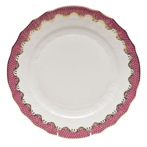 Fish Scale White Pink Border Dinnerware | Gracious Style