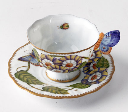 Giftware Butterfly Handle Triple Flower Cup & Saucer 4 oz | Gracious Style