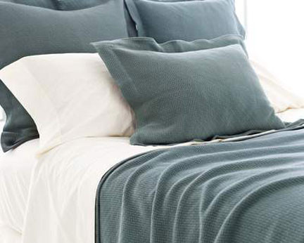 Pine Cone Hill Interlaken Juniper Matelasse Textured Cotton Coverlet