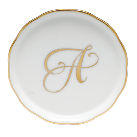 Monogrammed Gold Edge Coaster 4 in round | Gracious Style