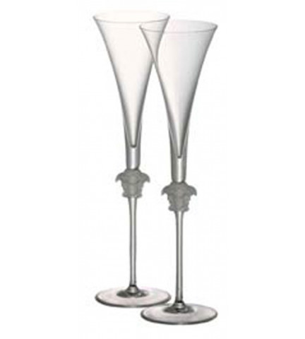 Medusa Lumiere Champagne Flute PAIR, 6 ounce, 12 inch | Gracious Style
