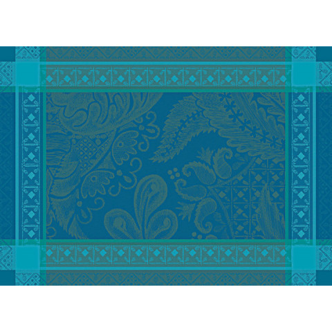 "Isaphire Emeraude Placemat 21""X15"", 100% Cotton, Green Sweet 