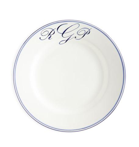 Double Stripe Blue Border Monogrammed Dinnerware   Gracious Style