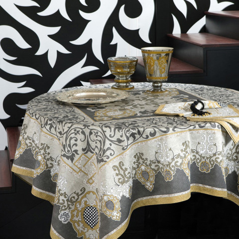 Adagio Gray Cotton Print Table Linens | Gracious Style