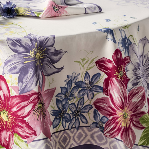 Rivoli Lilac Stain-Repellent Print Table Linens | Gracious Style