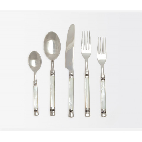 Sophene White Mother of Pearl Polished Silver Stainless Flatware | Gracious Style