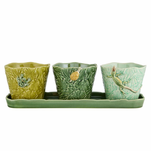 Bordallo Pinheiro Garden Of Insects Set Of Vases With Earth Bugs