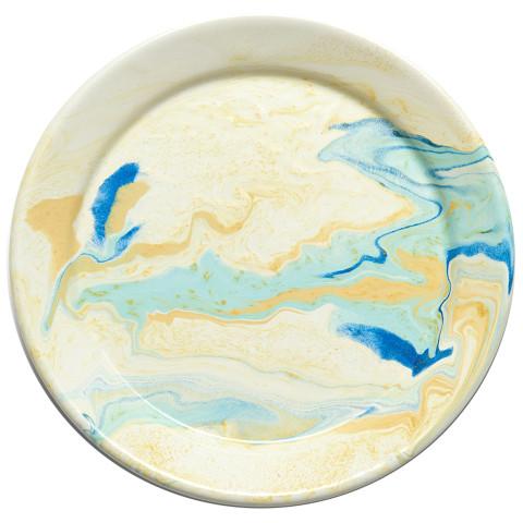Multi-Colored Marble Swirl Lemon Cream Enamel Dinnerware | Gracious Style