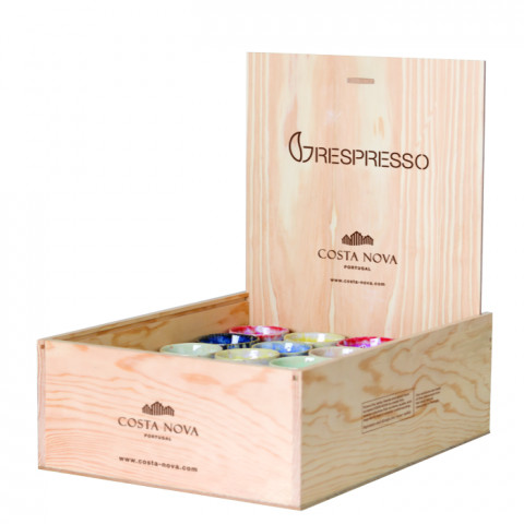 Grespresso Multicolor S/24 Lungo Cups W/Wood Box 5.5 H X 14.5 L X 10.5 W In | Gracious Style