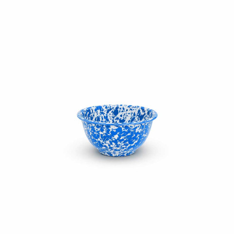 Splatter Blue and White Enamel 16 oz Small Footed Bowl 5 in | Gracious Style