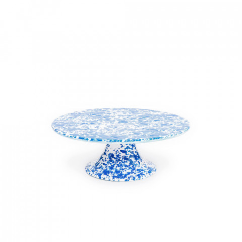 Splatter Blue and White Enamel Cake Platter - 11 in. | Gracious Style