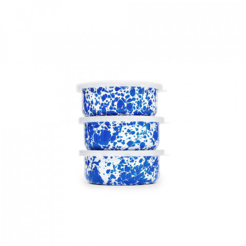 Splatter Blue and White Enamel 3 pc Storage Bowl Set with Lids - 14 oz each | Gracious Style