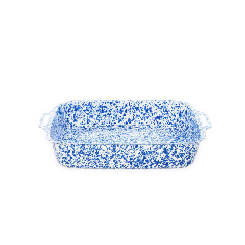 Splatter Blue and White Enamel Lasagna Pan - 4.5 qt,12.5 x 9 in. | Gracious Style