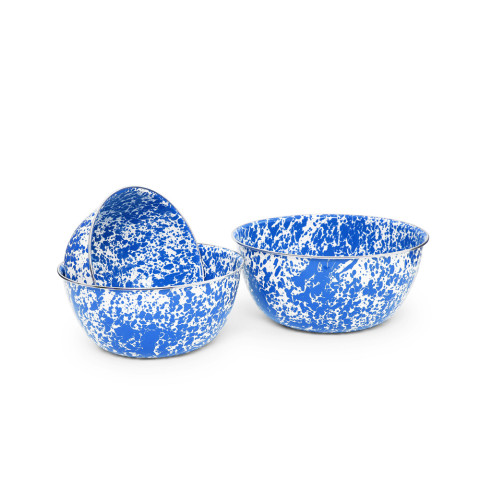 Splatter Blue and White Enamel 3 pc Mixing Bowl Set (2.75, 3.5, 6.5 qt) | Gracious Style