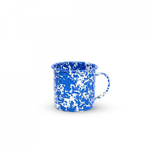 Splatter Blue and White Enamel 24 oz Jumbo Mug | Gracious Style