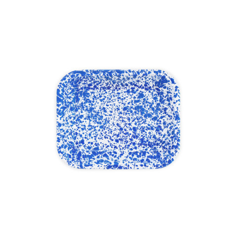 Splatter Blue and White Enamel Small Open Roaster - 2 qt, 10.5 x 8 in. | Gracious Style