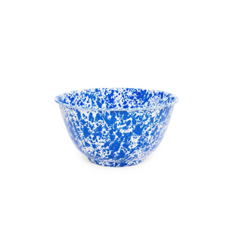 Splatter Blue and White Enamel 4 qt Large Salad Bowl 10.75 in | Gracious Style