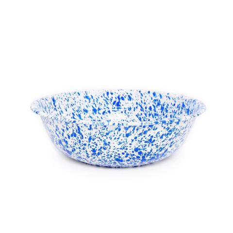 Splatter Blue and White Enamel 8 qt Medium Basin 14 in | Gracious Style