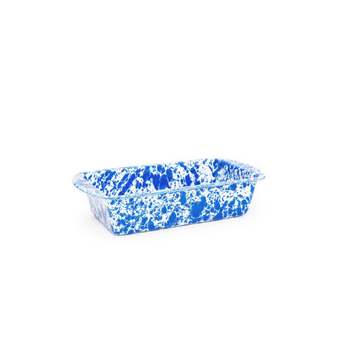 Splatter Blue and White Enamel 9 x 5 Loaf Pan - 1.5 qt | Gracious Style