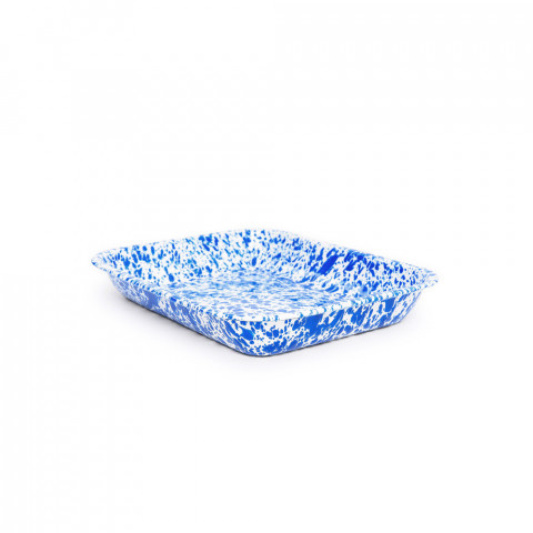 Splatter Blue and White Enamel Large Open Roaster - 3 qt, 13 x 10 in. | Gracious Style