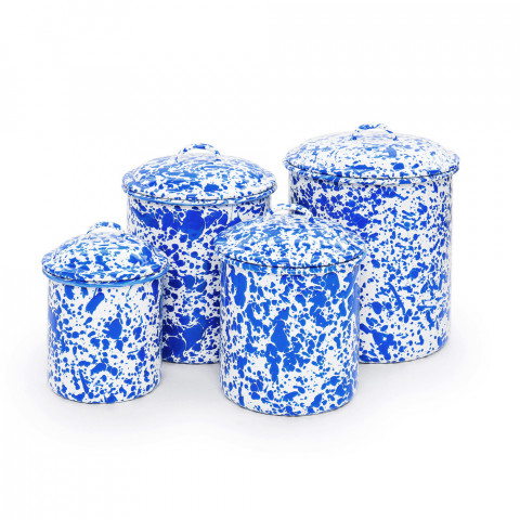 Splatter Blue and White Enamel 4 pc Canister Set Sm - Lg: 26, 48, 80, 120 oz | Gracious Style