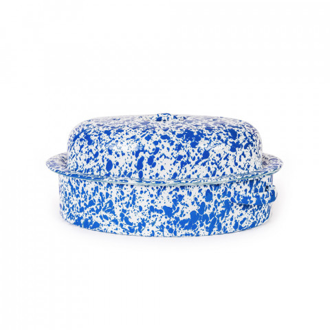 Splatter Blue and White Enamel Lg Covered Oval Roaster - 3 qt, 9.25 x 12.75 in. | Gracious Style