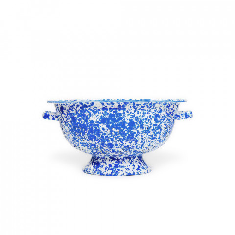 Splatter Blue and White Enamel Large Colander - 4.25 qt, 11 in. | Gracious Style