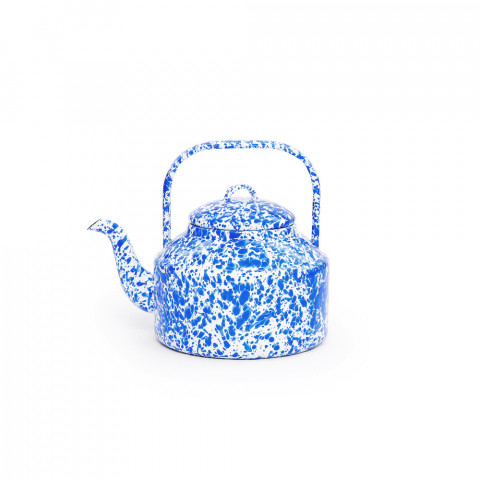 Splatter Blue and White Enamel Tea Kettle - 2.75 qt | Gracious Style