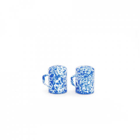Splatter Blue and White Enamel Salt & Pepper Shaker Set - 11 oz each | Gracious Style
