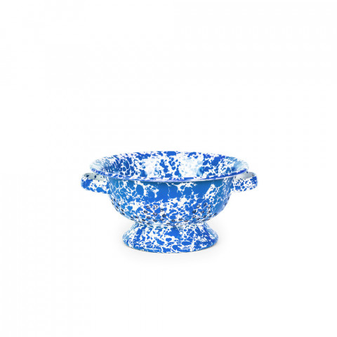 Splatter Blue and White Enamel Berry Colander - 1 qt, 8.25 in. | Gracious Style