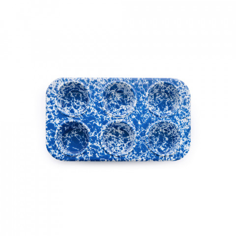 Splatter Blue and White Enamel 6 cup Muffin Tin | Gracious Style