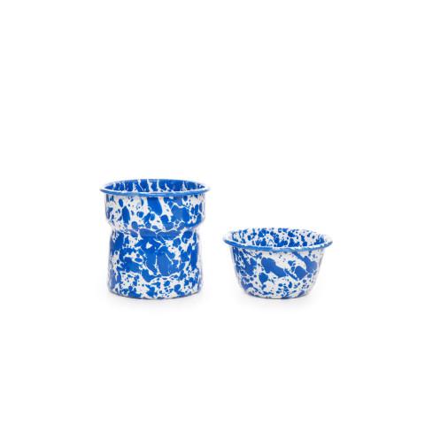 Splatter Blue and White Enamel Dip Chiller - base 26oz, bowl 10oz | Gracious Style