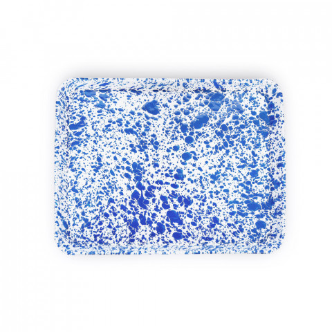 Splatter Blue and White Enamel Jelly Roll/ Large Rectangle Tray - 16 x 12.25 in. | Gracious Style