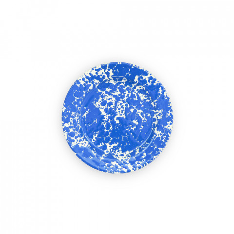 Splatter Blue and White Enamel Flat Salad Plate 8 in | Gracious Style