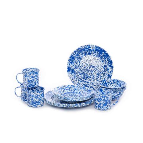 Splatter Blue and White Enamel 16 pc Dinnerware Starter Set   Gracious Style