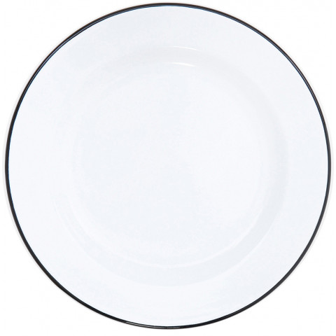 Vintage White with Black Rim Enamel Dinnerware | Gracious Style