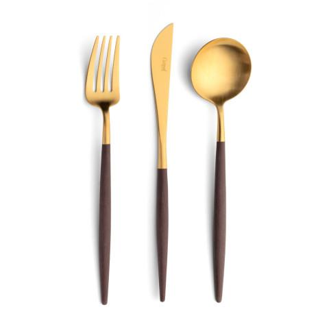 Goa Matte Gold/Brown Handle Flatware | Gracious Style
