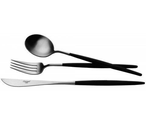 Goa Matte/Black Handle 130 pc Set (12x: Dinner Knives, Dinner Forks, Table Spoons, Coffee/Tea Spoons, Mocha Spoons, Dessert Knives, Dessert Forks, Dessert Spoons, Fish Knives, Fish Forks; 1x: Soup Ladle, Serving Knife, Serving Fork, Serving Spoon, Sauce Ladle, Cheese Knife, Sugar Ladle, Pie Server, Fish Serving Knife, Fish Serving Fork)  (Special Order)   Gracious Style