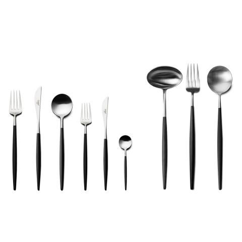 Goa Matte/Black Handle 75 pc Set (12x: Dinner Knives, Dinner Forks, Table Spoons, Coffee/Tea Spoons, Dessert Knives, Dessert Forks; 1x: Soup Ladle, Serving Spoon, Serving Fork)  (Special Order) | Gracious Style