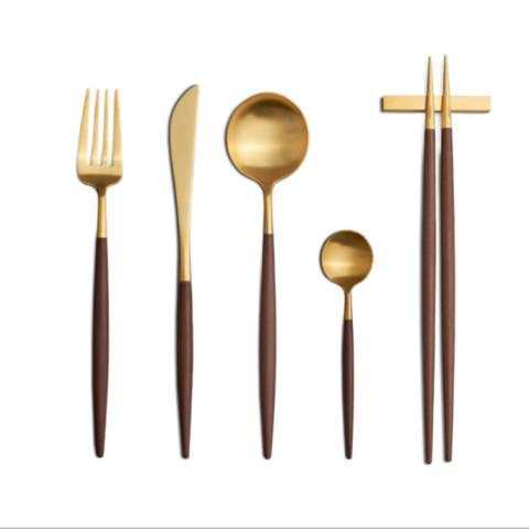 Goa Gold Matte/Brown Handle Flatware | Gracious Style