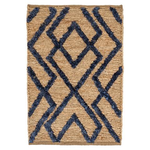 Marco Navy Jute Soumak Woven Rugs | Gracious Style