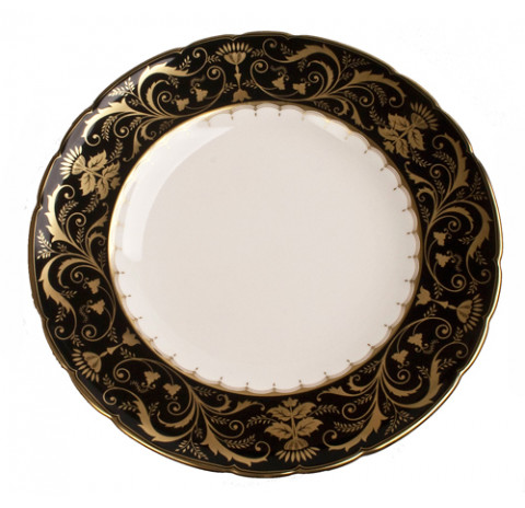 Darley Abbey Black and Gold Dinner Plate 10.5 in Round   Gracious Style