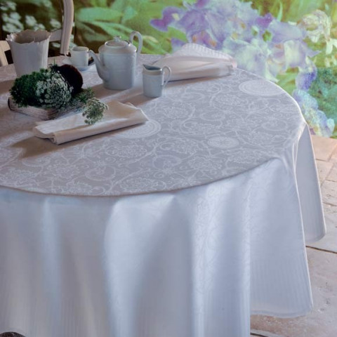 Appoline White Green Sweet Stain-Resistant Damask Table Linens | Gracious Style