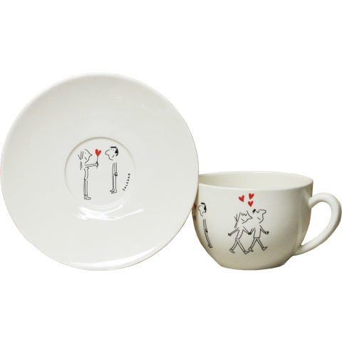 """Les Amoureux / The Lovers Jumbo Cup & Saucer 11 Oz - 7 1/2"""" Dia 