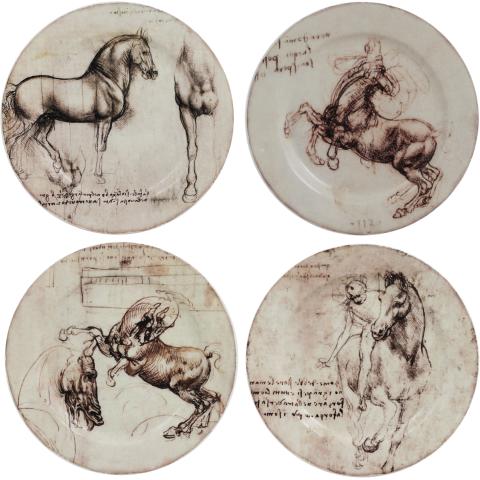 "Leonard De Vinci Coasters Horses 5"" Dia   Gracious Style"