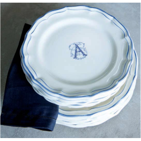 Filet Bleu Monogram Dinnerware | Gracious Style