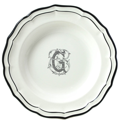 Filet Manganese Monogram Rim Soup | Gracious Style