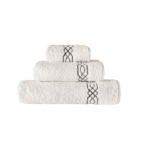 Milano Cotton Embroidered 800-Gram Bath Towels White   Gracious Style